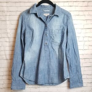 MERONA chambray half button long sleeve top